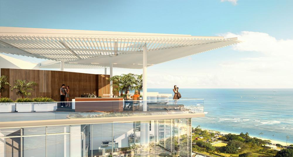 Ae'o Honolulu condo rooftop amenity deck