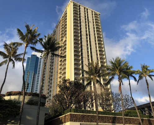 1350 Ala Moana condo building brand new paint-job