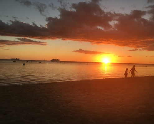 Sunset at Ala Moana Beach